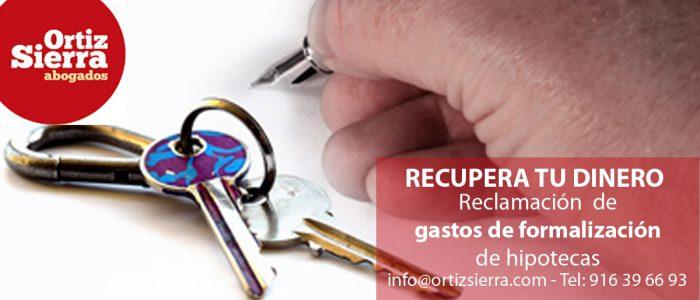 Reclamación de gastos formalización de hipoteca